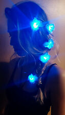 (3) BLUE LED Flower Clip Pins for Hair- Festival Accessory, Rave Wear, Dance