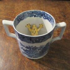 More details for antique 19thc staffordshire blue & white willow pattern frog cider mug