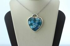 Sterling Silver 925 Handcrafted Millefiori Art Glass Blue Floral Heart Pendant