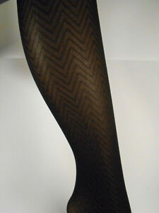 3 PAIRS Tights Tummy Smoother CHEVRON PATTERN,CURVACEOUS 1,LOT OF 3 -- pantyhose