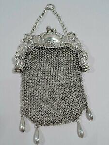 Antique Purse - Art Nouveau Edwardian Wrist Bag - American Sterling Silver