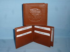 FIRE FIGHTER / FIREMAN   Leather BiFold Wallet    NEW    brown 4 +