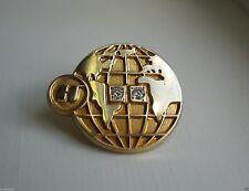 14K Solid Gold Halliburton Oil & Gas Globe 2 Diamond Award Service Lapel Pin