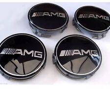 4x MERCEDES BENZ Black AMG WHEEL CENTRE CAPS HUB 75mm A B C D S SLK A45 CLK G GL