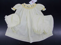 Infant Girls Mom & Me 3pc Lt. Yellow Hand Smocked Dress Size 3 Months - 9 Months