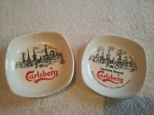 AUTHENTIC PAIR WADE ROYAL NORFOLK CARLSBERG LAGER ADVERTISING ASHTRAYS