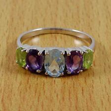 925 Reines Silber Indien Mode Ring Amethyst Multistone Band Schmuck U.S. Größe 8