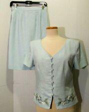 Vintage Virgo II Linen Skirt Set / Suit Sz 6 Embroidered Flowers Baby Blue Lined