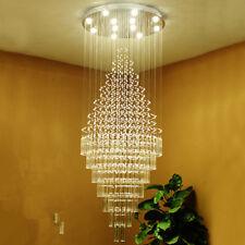 TOP LED Crystal Chandelier Ceiling Light Rain Drop Living Room stair Pendant
