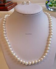 Genuine silver 6.5-7mm 5A outstanding freshwater pearls necklace+earring L47cm W