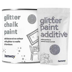 Hemway Glitter Paint Silver for Furniture Walls Matt Shabby Chic Chalk Chalky