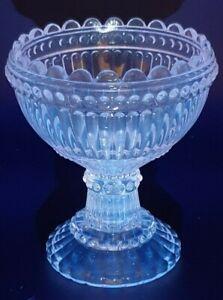 Vintage Depression Pink Glass Goblet Style Dessert Bowl - Glows Blue @ 365nm UV