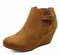 LADIES TAN LOW-WEDGE PULL-ON CHELSEA ANKLE BOOTS COMFY CASUAL SHOES SIZES 3-9