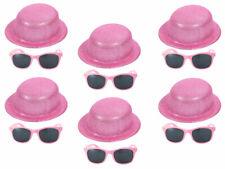 6er Set Melonenhut Glitzerhut Partyhut Sonnenbrille Silvester JGA Karneval Pink