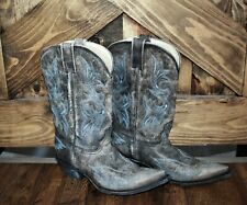 CORRAL Leather Fancy WESTERN Inlay Cowgirl Boots Women's 9 M Grey distressed