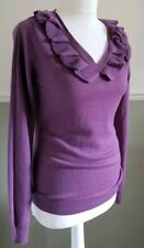 Mauve Wool Cashmere Fitted Jumper Sweater Ruffles Landgirl 40/50s S 10-12