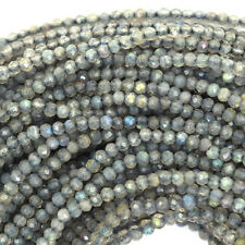 "2mm faceted grey labradorite round beads 13"" strand seed"