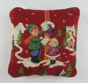 Vintage Christmas Needlepoint Letters To Santa Pillow 14x14