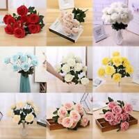 10Köpfe Silk Rose künstliche Blumen-Bündel im Vasen-Blumenstrauß-Hochzeits-Party