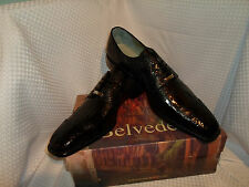 Belvedere Mens Genuine Crocodile (alligator)  Lace Up Oxford Shoes Black 14 NEW