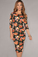 LADIES BLACK FLORAL PRINT BODYCON MIDI DRESS STRETCH WIGGLE CELEB SIZE 10 & 12