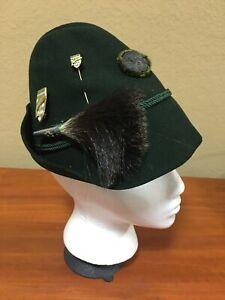 Vintage Green Tyrolean ALPINE FELT HAT w/ Boar Brush & Travel Pins size 54