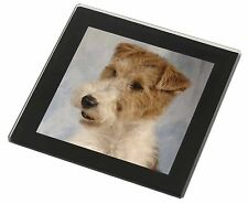 Fox Terrier Dog Black Rim Glass Coaster Animal Breed Gift, AD-WHT1GC