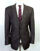 euc Canali for Saks Gray Glen Plaid Wool Blazer Canvassed Italy Dual Vent 44 R