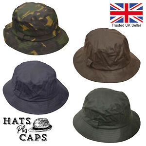 British Waxed Cotton Bush Hat Wax Rain Bucket Hat Waterproof Water Repellent