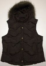 EUC ROPER Women's Puffer Vest/Outerwear Brown Snap Quilted Hooded Faux Fur Sz XL