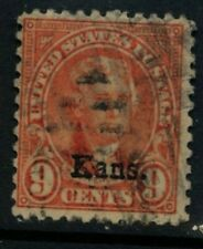 Scott #667 U.S. stamp 1929 Jefferson 9 cent KANS overprint, used