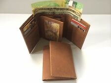 Mens Genuine Hunter Leather Wallet w/ 9 Credit Card Holder-Tan (AE-03)
