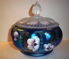 Fenton Glass BLUE FAVRENE HP Covered Melon Powder Box Candy Box Dish - NIB!