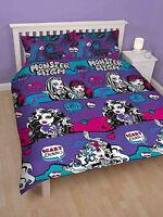DOUBLE BED DUVET COVER SET MONSTER HIGH PLUM GIRLS GOTHIC VAMPIRES SKULLS CERISE
