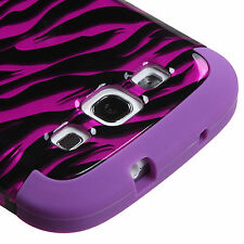 Samsung Galaxy S III 3 IMPACT TUFF HYBRID Case Cover 2D Hot Pink Zebra Purple