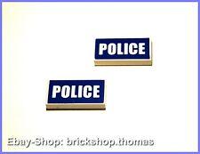 Lego 2 x Fliesen Kachel Polizei (1 x 2) - 3069bpb139 - Tile Police - NEU / NEW