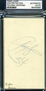 Walter Payton Psa/dna Signed 80`s 3x5 Index Autograph Authentic