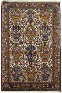One of Kind Floral Design Vintage 3'5X5'3 Classic Oriental Rug Handmade Carpet