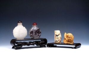 Solid Rosewood Crafted LARGE 2-in-1 Display Stands For Netsuke, Snuff Bottles A2