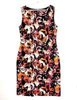 Simona Women's Sz 10 Multicoloured Sleeveless Boat Neck Knee Length Pencil Dress