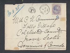 PHILIPPINES 1888 8c SURCHARGE POSTAGE DUE COVER TO NS CANADA VIA HONG KONG