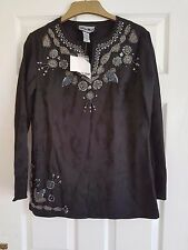 Indigo Moon Tunic Top Size XS - BLACK & SILVER Embellished DESIGN  - Bust 38""