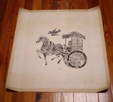 """Vintage Chinese Asian HORSE CHARIOT BIRD Black & White Woodblock Cut Print 28"""""""