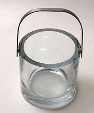 Vintage MCM Crystal Ice Bucket With Brushed Stainless Handle