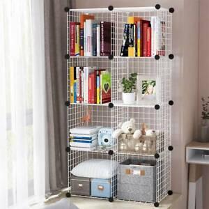8 Cube DIY Wire Grid Bookcase Storage Shelf Rack Open Organiser Closet Cabinet