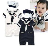 Baby Boy Girl Sailor Halloween Fancy Dress Costume Outfit Suit+HAT Set 6-24M