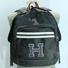 """Tommy Hilfiger Vintage Backpack School Varsity H Logo Patch Black 3 Pocket 15"""""""