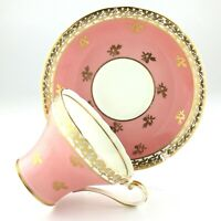 Ansley Beautiful Corset Shape Pastel Pink Gold Stencilling Teacup Saucer L058
