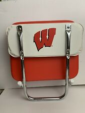 Vintage Red & White Vinyl Folding Stadium Bleacher Seat Boat Chair With Clamp