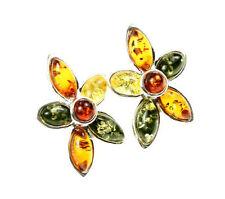 SilverAmber Jewellery Earings GL060 925 Sterling Silver Cognac Amber Stones